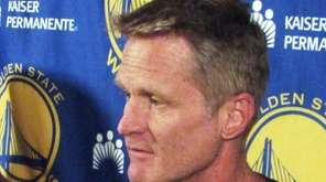 Golden State Warriors coach Steve Kerr speaks to