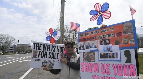 Demonstrators protested President Trummp's refusal to make public