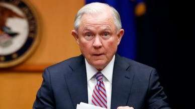 Attorney General Jeff Sessions prepares to speak before