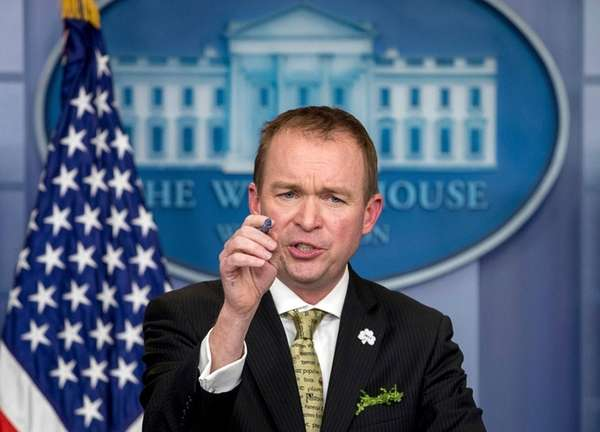 White House budget director Mick Mulvaney speaks at