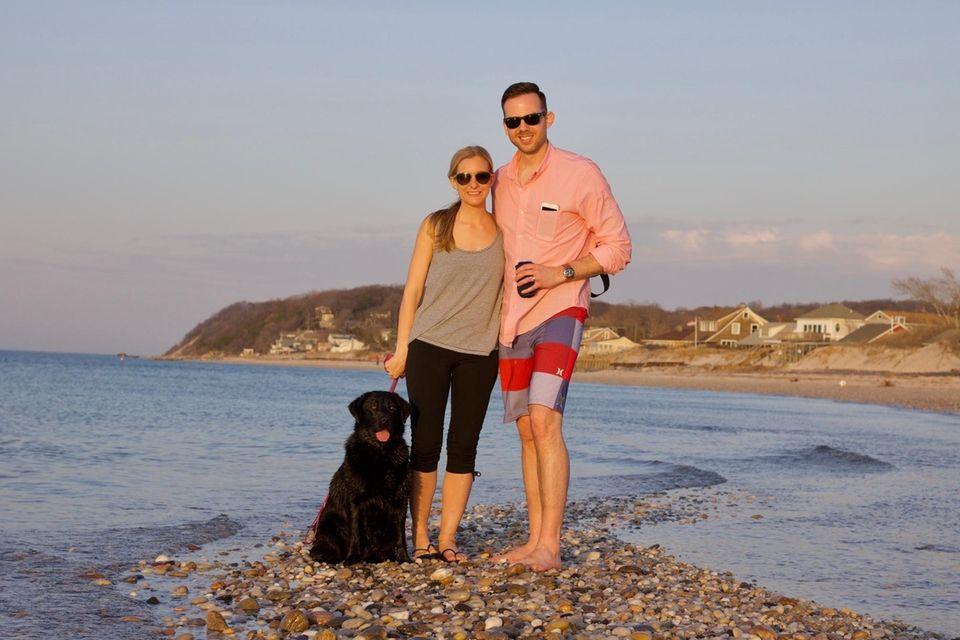 Newly weds enjoying the sunset and semi warm