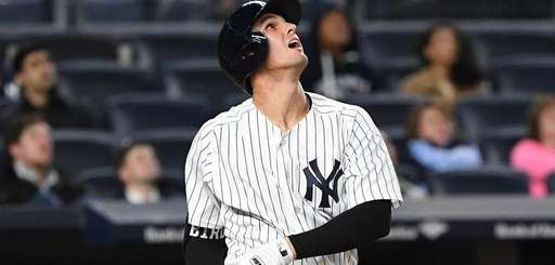 New York Yankees first baseman Greg Bird watches