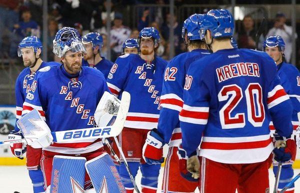 Henrik Lundqvist of the New York Rangers celebrates