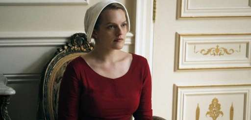 Elisabeth Moss as Offred in a scene from