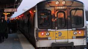 -The LIRR is seen in Copiague on Wednesday,