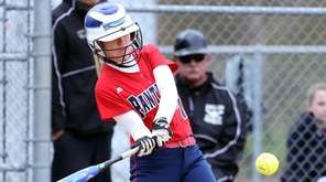 Miller Place's Emma Acevedo gets a hit during