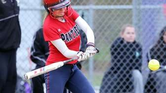 Miller Place's Victoria Lavarone puts the ball in