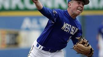 West Islip starting pitcher Kyle O'Neill (3) delivers