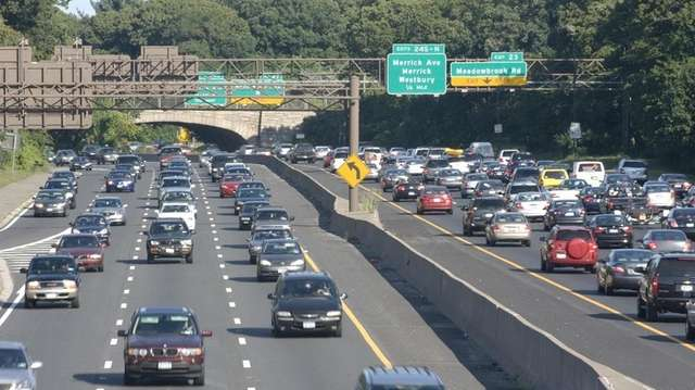 Traffic builds on the Southern State Parkway, where