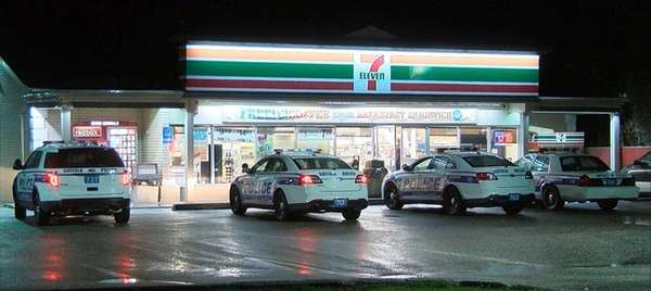 Suffolk County police at the 7-Eleven store on
