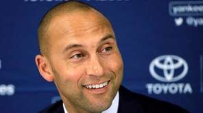 Derek Jeter speaks to the media after the