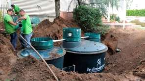 A septic tank is installed in Nesconset as