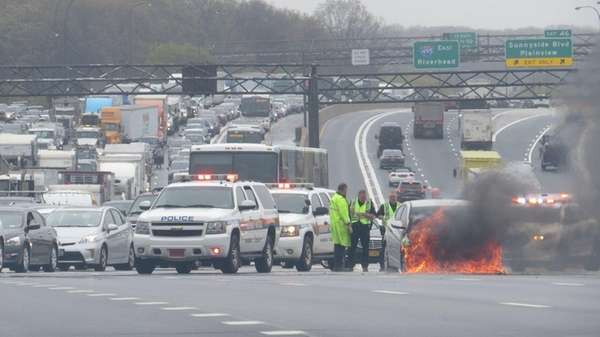 A car fire on the Long Island Expressway