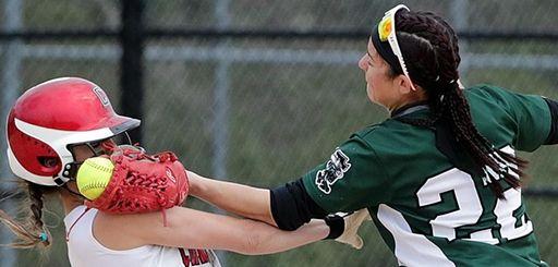 Connetquot's Julianna Prescia (6) collides with Floyd shortstop