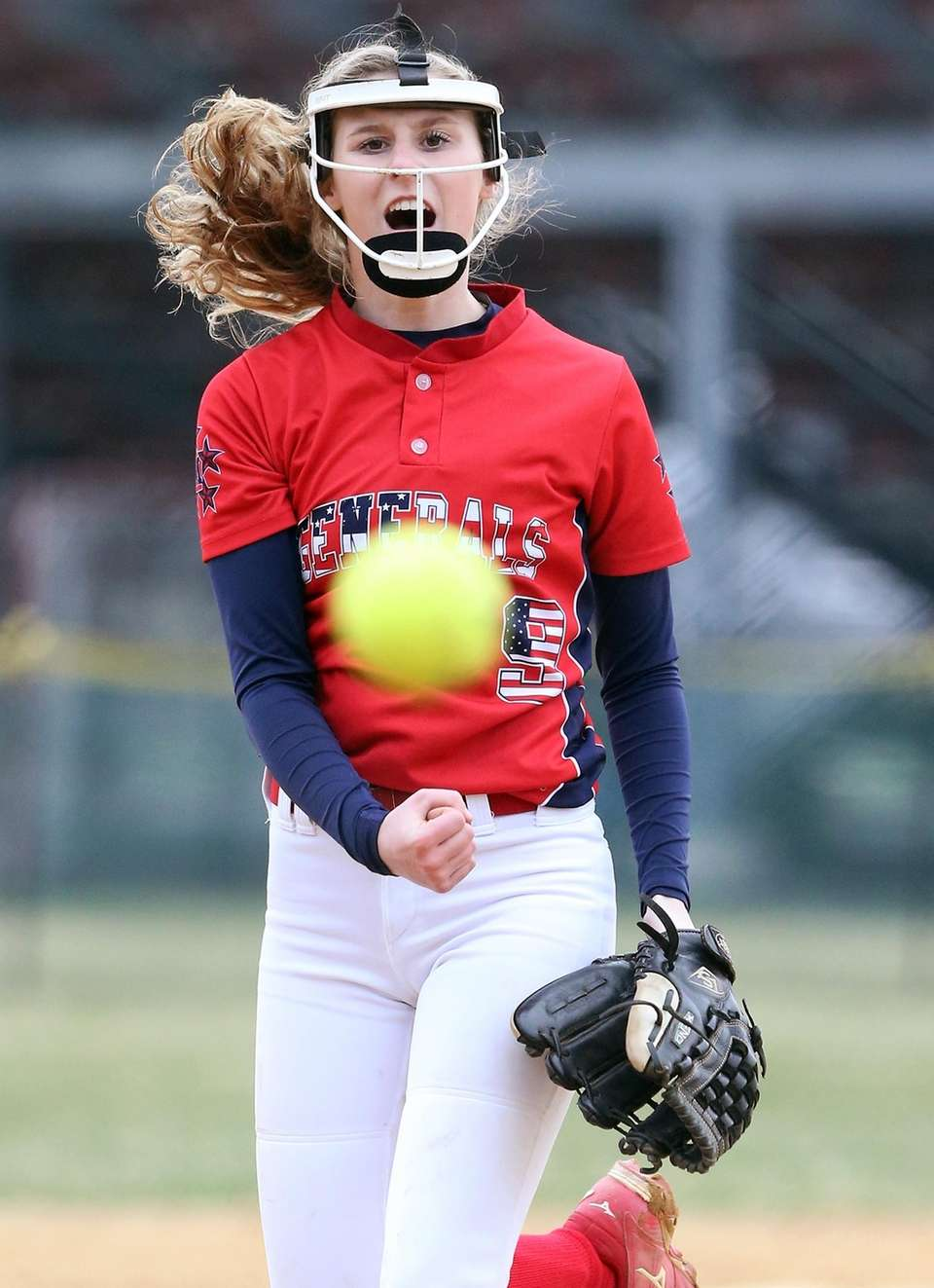 MacArthur's winning pitcher Jessica Budrewicz brings it to