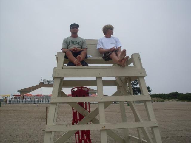 Lifegaurds watch the bay at Tobay Beach.