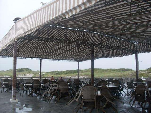 The covered picnic area next to the concession