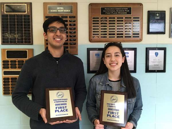 Roslyn High School seniors Anuj Gupta and Chloe