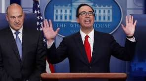 Treasury Secretary Steven Mnuchin, right, with National Economic