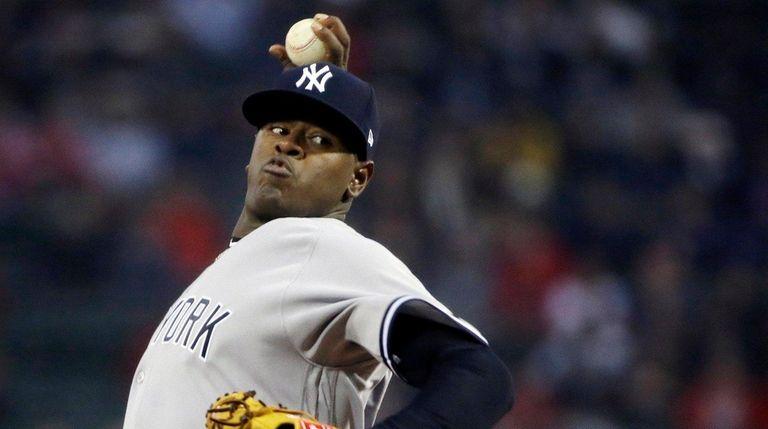 New York Yankees' Luis Severino threw seven shutout