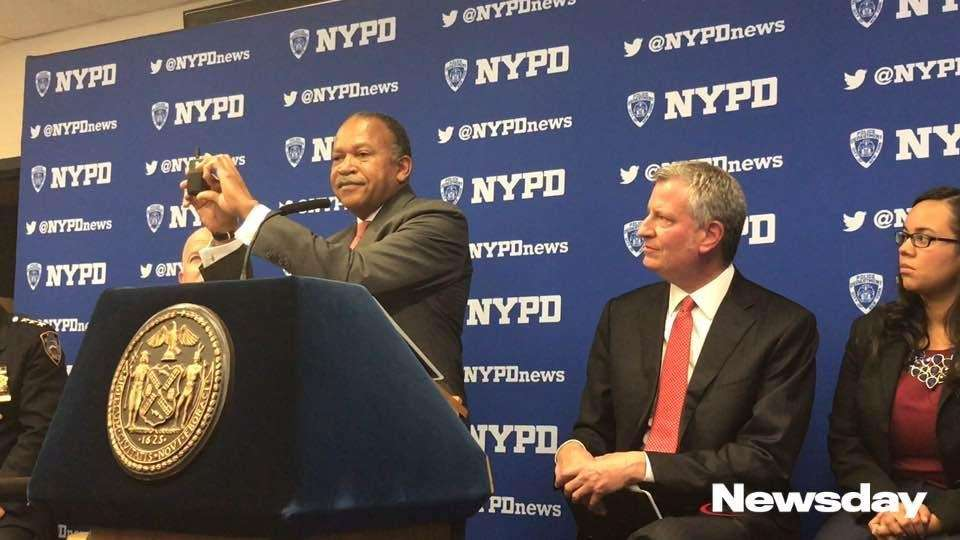 NYPD First Deputy Commissioner Ben Tucker displays how