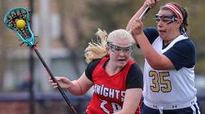 Amanda Kozak of Floral Park works the ball
