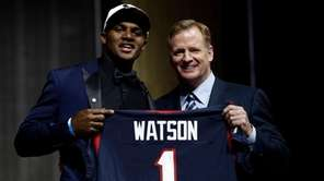 Clemson's Deshaun Watson, left, poses with NFL commissioner