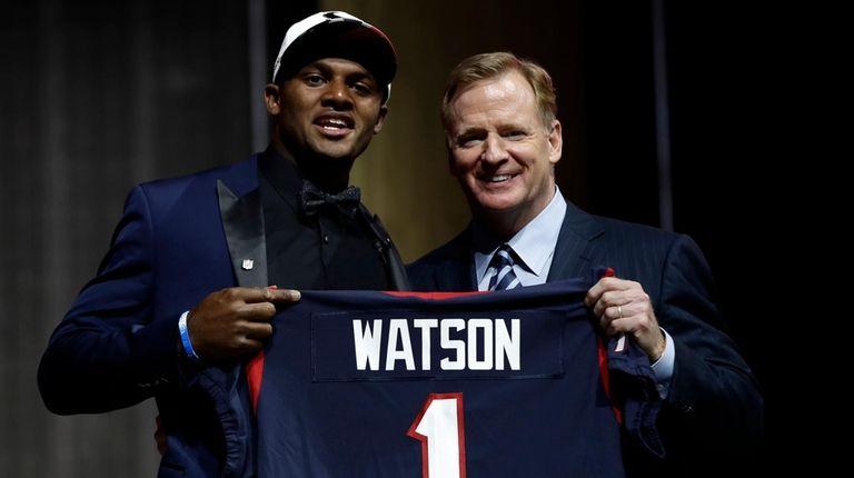 Clemson's Deshaun Watson, left, poses with NFL commissioner