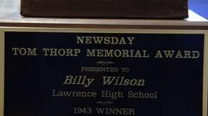 Lawrence High School's Billy Wilson won Newsday's Thorp Award