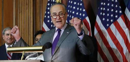 Senate Minority Leader Charles Schumer speaks to reporters
