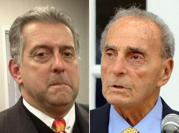 John Zollo, left, former Smithtown town attorney, and