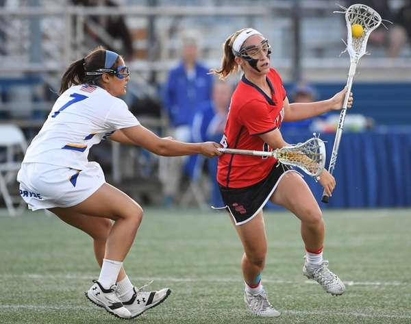 Stony Brook attacker Kylie Ohlmiller drives the ball