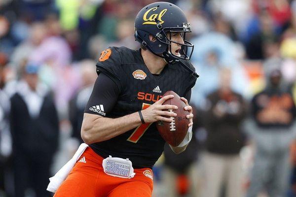 Cal quarterback Davis Webb, of the South team,
