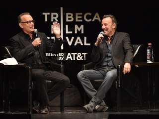 Actor Tom Hanks interviews rocker Bruce Springsteen Friday,