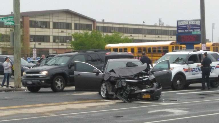 Nassau County police investigate an accident in Wantagh