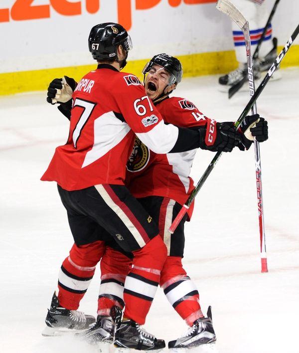 Ottawa Senators center Jean-Gabriel Pageau (44) celebrates his