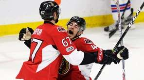Ottawa Senators center Jean-Gabriel Pageau (44) celebrates his