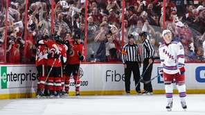 Jean-Gabriel Pageau #44 of the Ottawa Senators celebrates