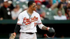 Manny Machado of the Orioles reacts after