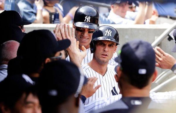 New York Yankees' Greg Bird, No. 33, and