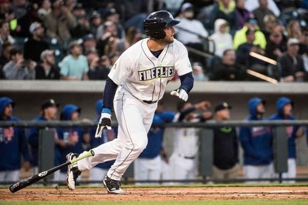 Columbia Fireflies' Tim Tebow watches his home run