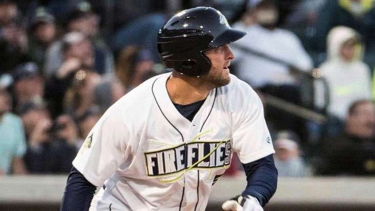 Columbia Fireflies' Tim Tebow watches his home run