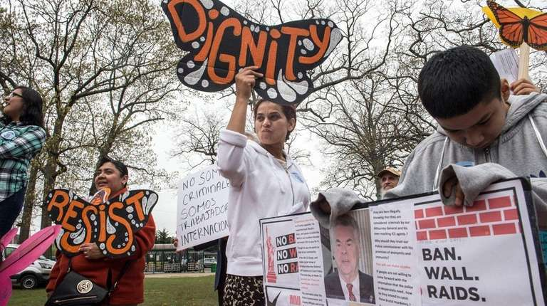 Community members and immigrant advocates marched along Suffolk