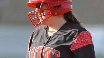 Victoria Nowak #17, Plainedge pitcher, reacts with a