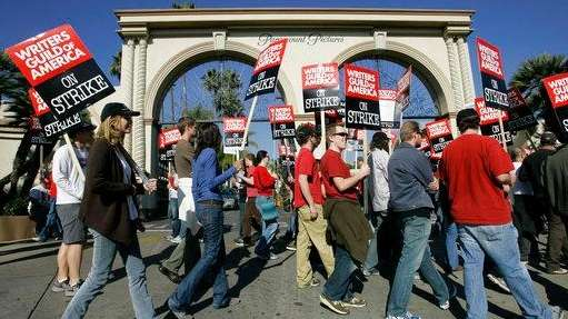 Striking writers walk the picket line outside Paramount