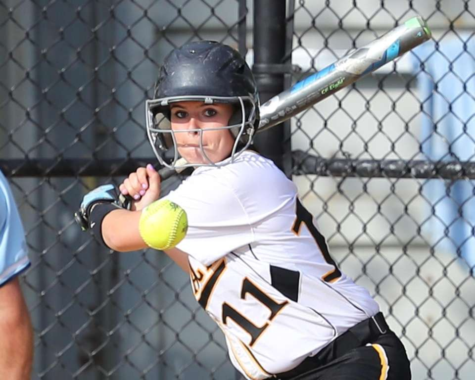 Commack's Kelly McKenna batting against Sachem North on