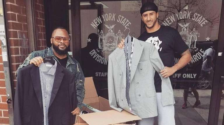 Colin Kaepernick donates old suits outside a New