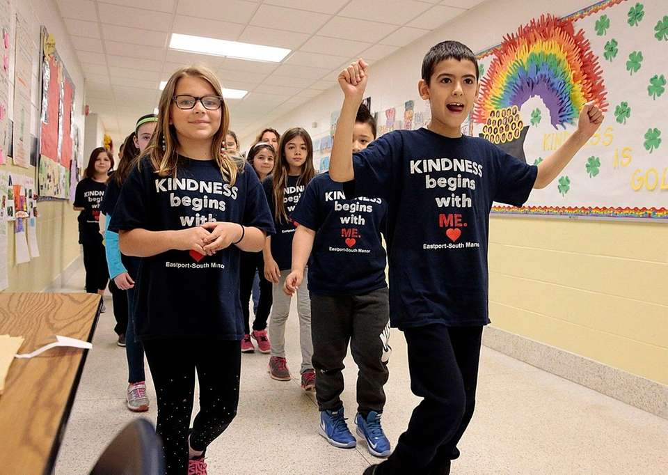 Third-graders from Dayton Avenue Elementary School in Manorville