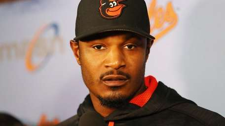 Adam Jones of the Baltimore Orioles speaks with