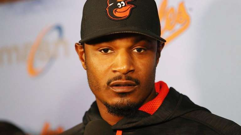 Adam Jones of the Baltimore Orioles speaks with